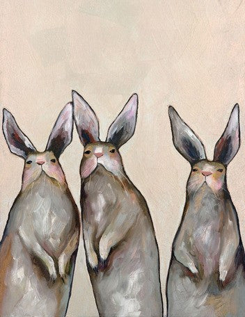 Three Standing Rabbits - Giclée Print