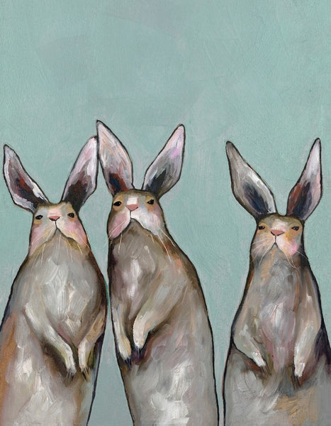 Three Standing Rabbits on Blue - Signed Giclée Print
