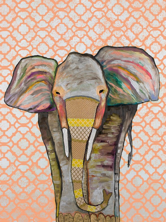 Trendy Trunk on Patterned Coral - Giclée Print AS SEEN ON SUPERGIRL