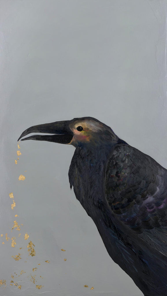 Crow Crunching Gold Beetle Crumbs - Giclée Print