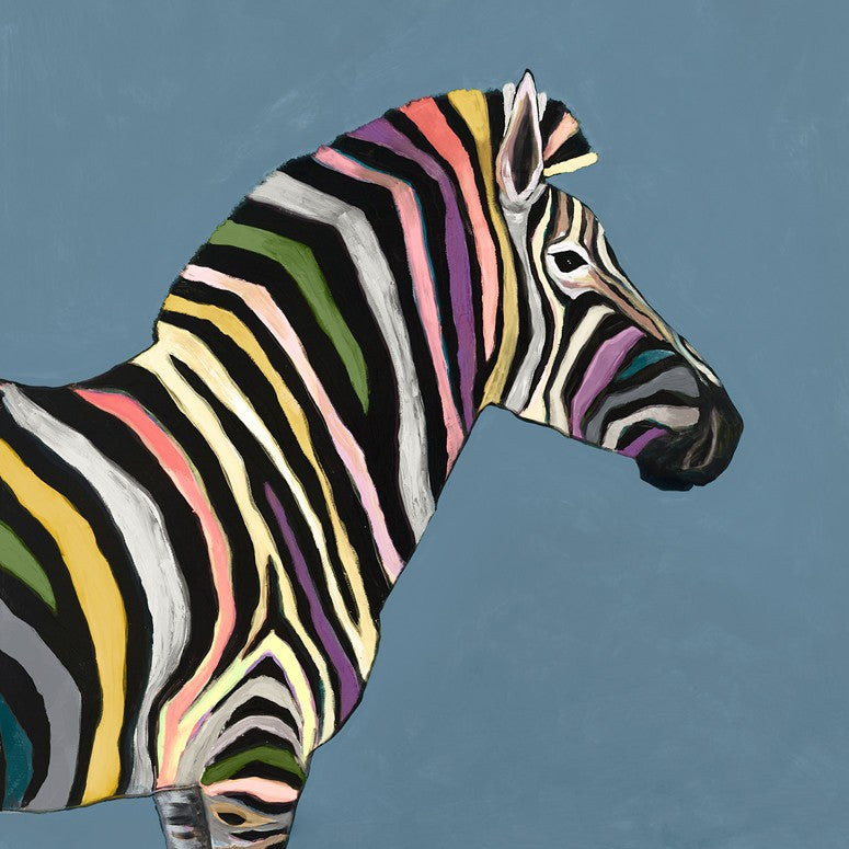 Wild Zebra on Blue - Giclée Print