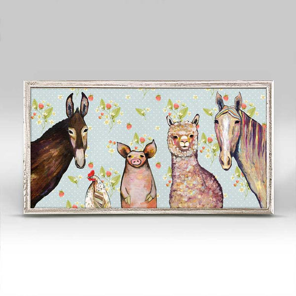 "Alpaca and Pals in Strawberry Patch Mini Print 10"" x 5"""