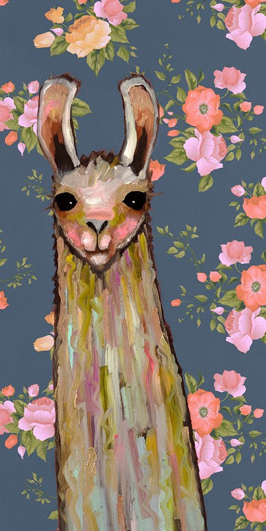 Baby Llama In Floral Wallpaper - Giclée Print