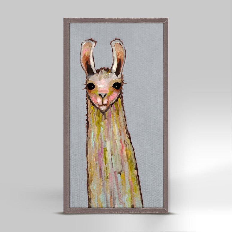 "Baby Llama on Gray Mini Print 5"" x 10"""
