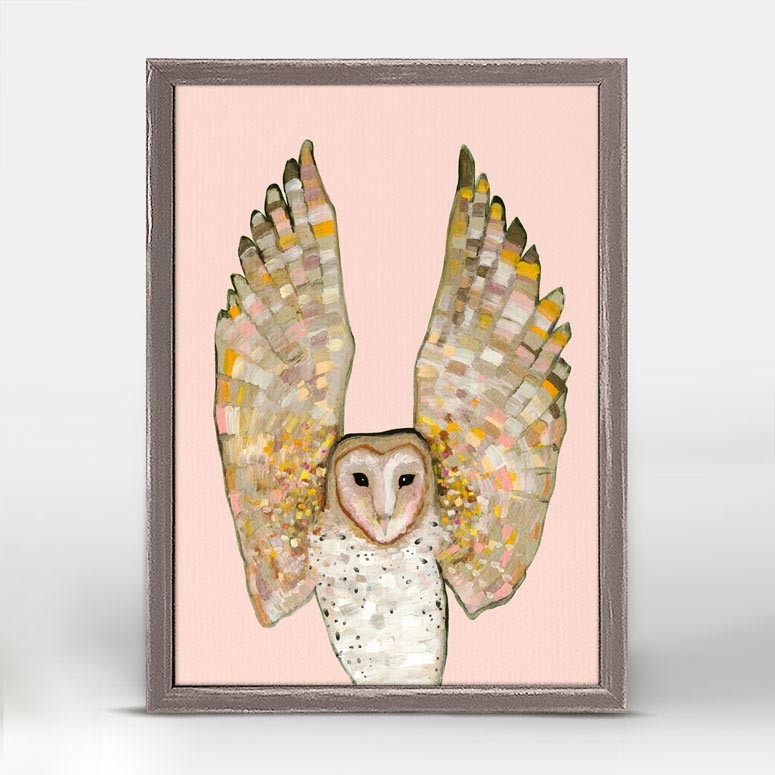"Barn Owl on Coral Mini Print 5"" x 7"""