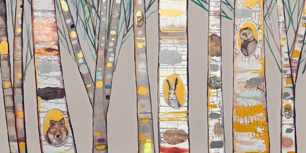 Birch Trees Natural Metallic Embellished - Giclée Print