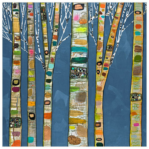 Birch Trees on Cobalt - Giclée Print