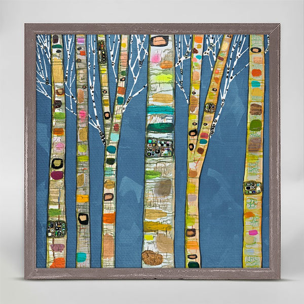"Birch Trees on Cobalt Mini Print 6"" x 6"""