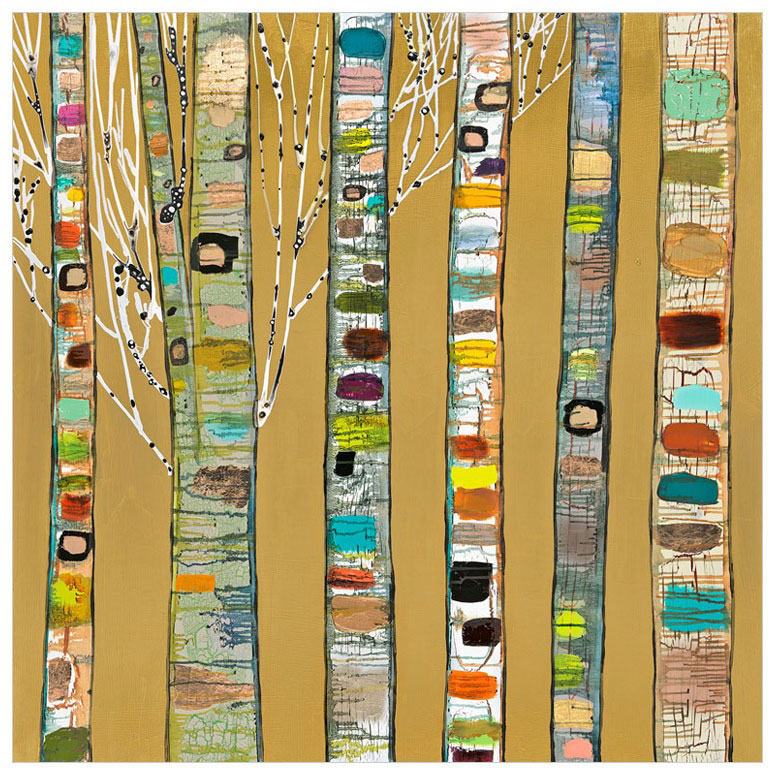 Birch Trees on Gold - Giclée Print