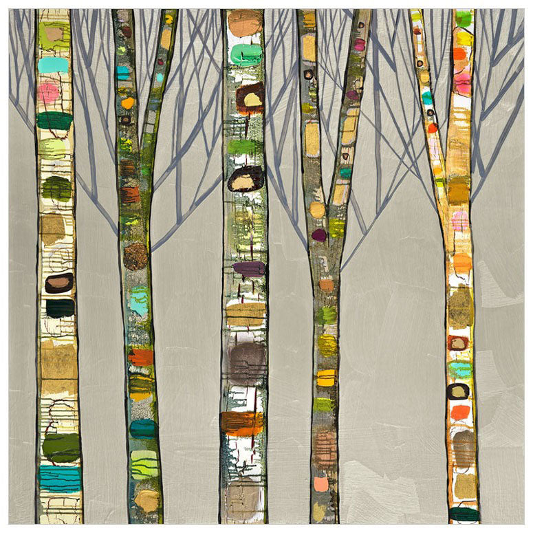 Birch Trees on Silver - Giclée Print