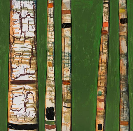 Birch Trunks on Green - Giclée Print