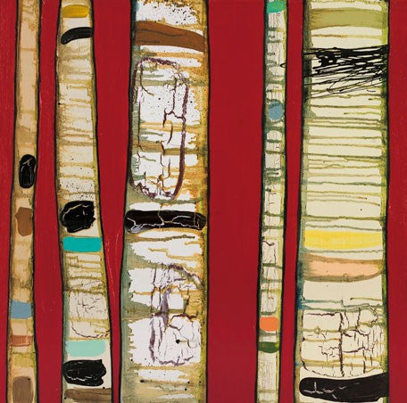 Birch Trunks on Red - Giclée Print