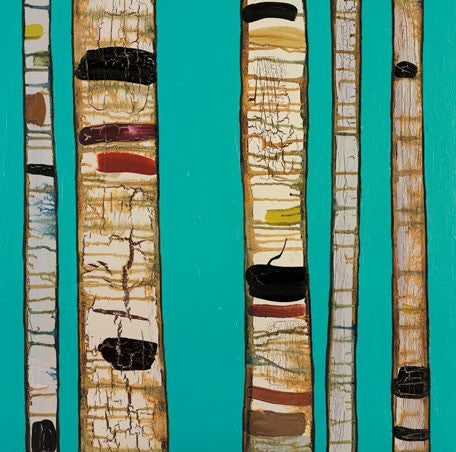 Birch Trunks on Sky Blue - Giclée Print