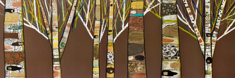 Birch Tree Forest in Chocolate Brown - Giclée Print