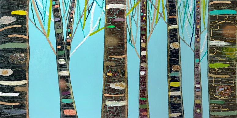 Birch Tree Woods On Blue - Giclée Print
