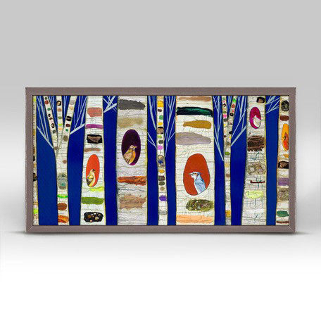"Birch Tree with Wild Birds Cobalt Mini Print 10"" x 5"""