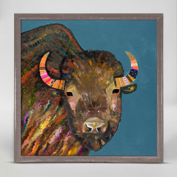 "Bison with Ribbons in Her Hair Blue Signed Mini Print 6"" x 6"""