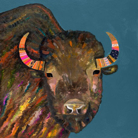 Bison With Ribbons In Her Hair on Blue - Giclée Print