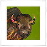 Bison With Ribbons In Her Hair on Green - Giclée Print