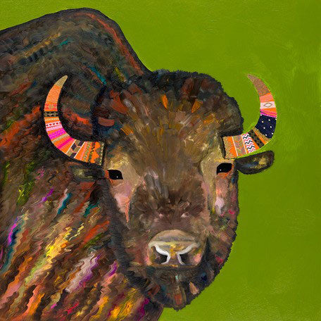 Bison With Ribbons In Her Hair on Green - Signed Large Giclée Canvas Print For Austin Tx Delivery Only