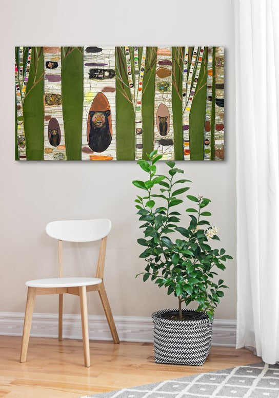 Black Bear Birch Tree Forest - Giclée Print