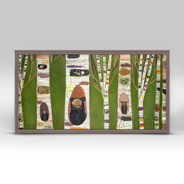 "Black Bear Birch Tree Forest Mini Print 10"" x 5"""