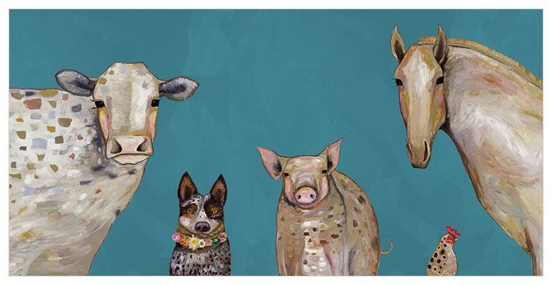 Cattle Dog and Crew in Teal - Giclée Print