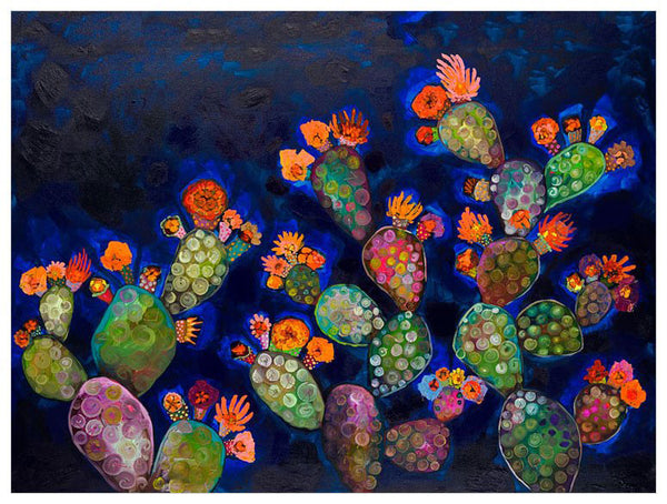 Prickly Pears in Prussian Blue with Orange Blooms - Giclée Print
