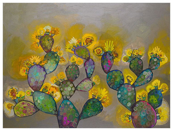 Prickly Pears in Grey with Yellow Blooms - Signed Large Giclée Canvas Print For Austin Tx Delivery Only