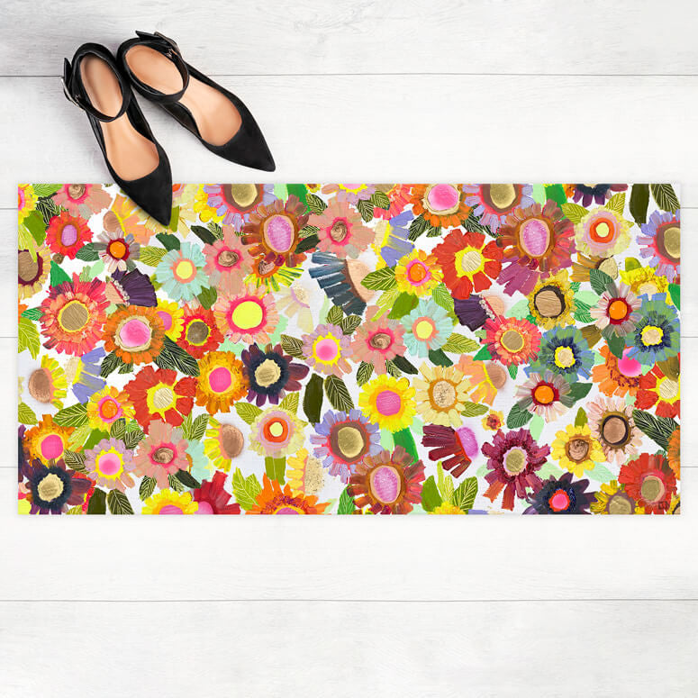 "Blooms Medium Floorcloth 40"" x 20"""