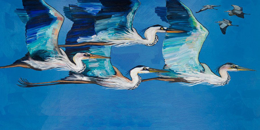Blue Herons Flight - Giclée Print