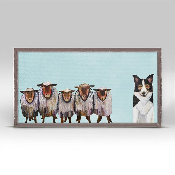"Border Collie and Crew in Sky Blue Mini Print 10"" x 5"""