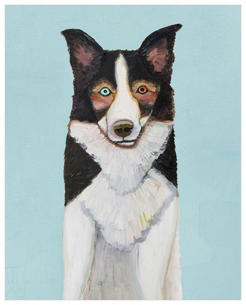 Border Collie in Sky Blue - Giclée Print