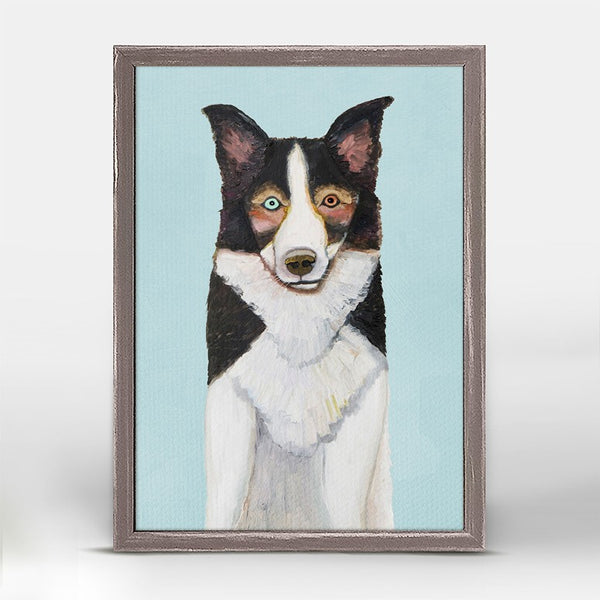 "Border Collie in Blue Mini Print 5"" x 7"""