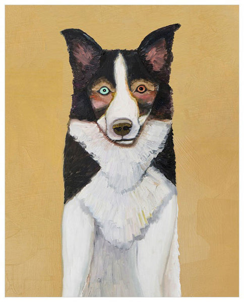 Border Collie in Butter Yellow - Signed Large Giclée Canvas Print For Austin Tx Delivery Only