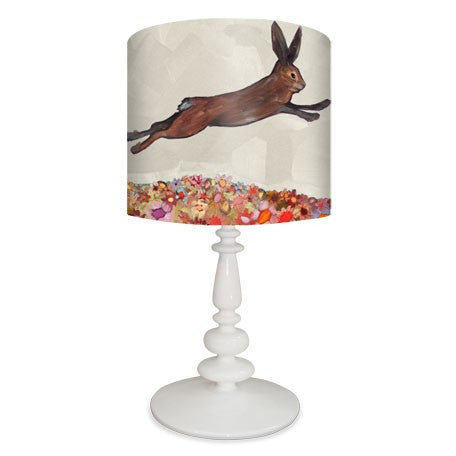 Brown Bunnies Jumping Over Flowers - Lamp Reproduction