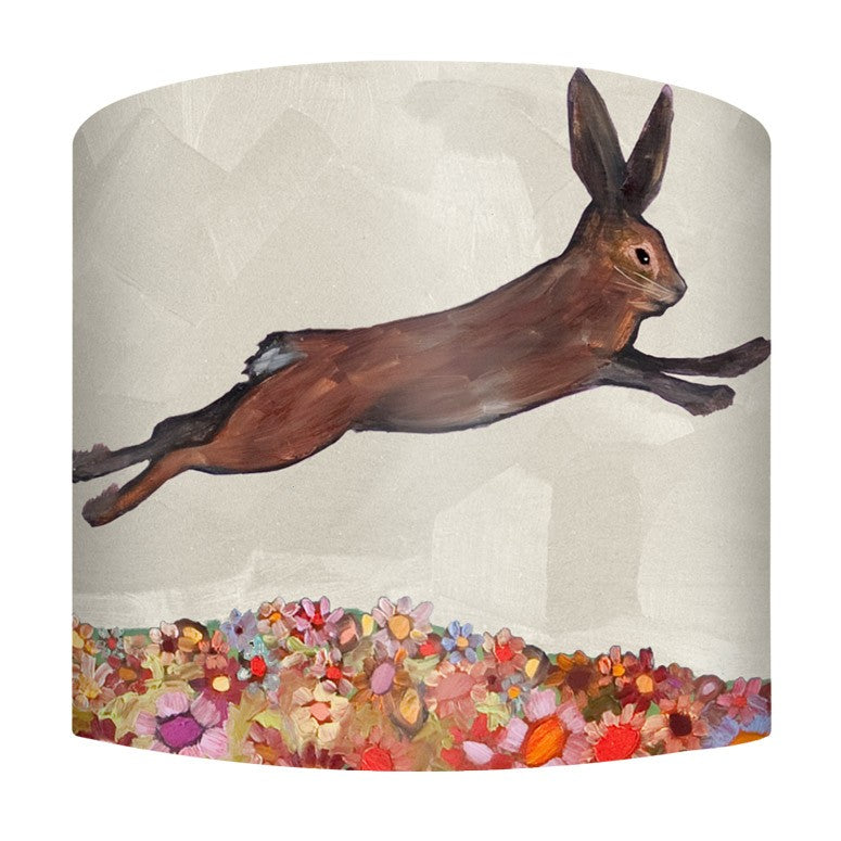 Brown Bunnies Jumping Over Flowers Lamp - Small
