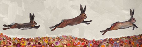 Brown Bunnies Jumping Over Flowers - Giclée Print