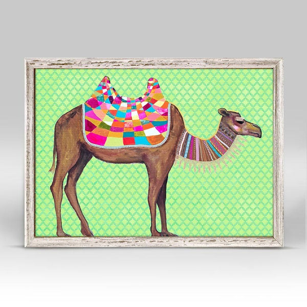 "Camel With Ribbons & Lace on Lime Signed Mini Print 7"" x 5"""