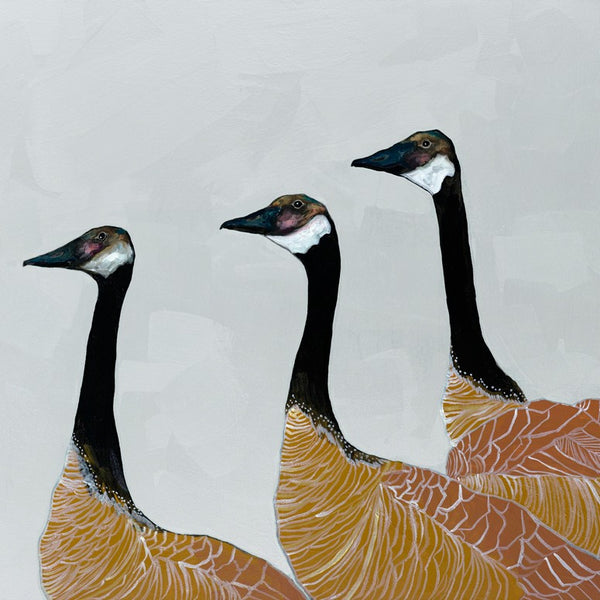 Canadian Geese on Silver - Giclée Print