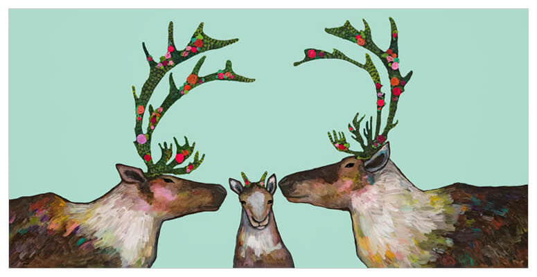 Caribou Family in Mint - Giclée Print