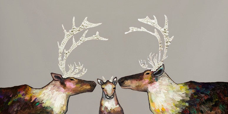 Caribou Family on Taupe - Giclée Print