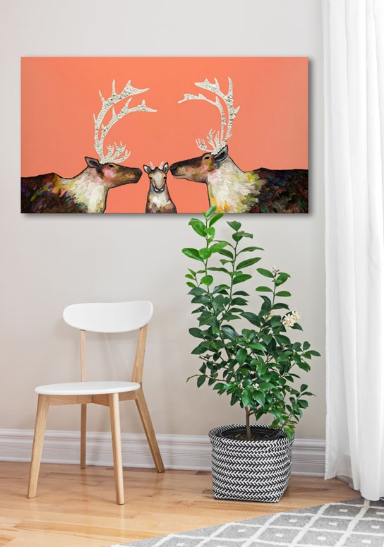 Caribou Family in Coral - Giclée Print