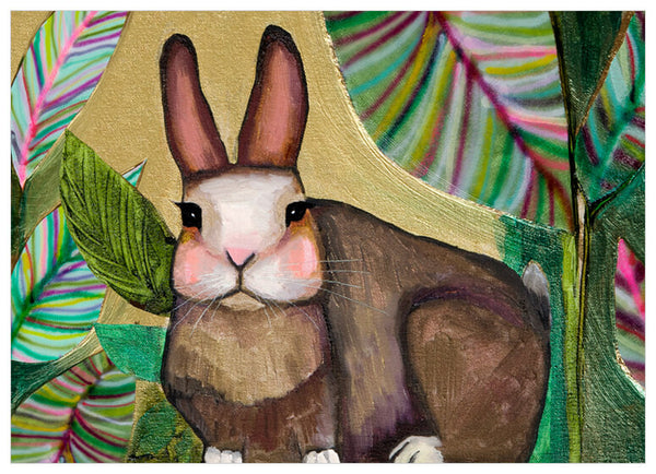 Carrot Cake Bunny In Leaves - Giclée Print