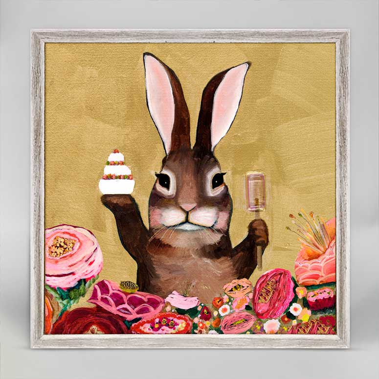 "Carrot Cake Bunny With Sweets Mini Print 6"" x 6"""