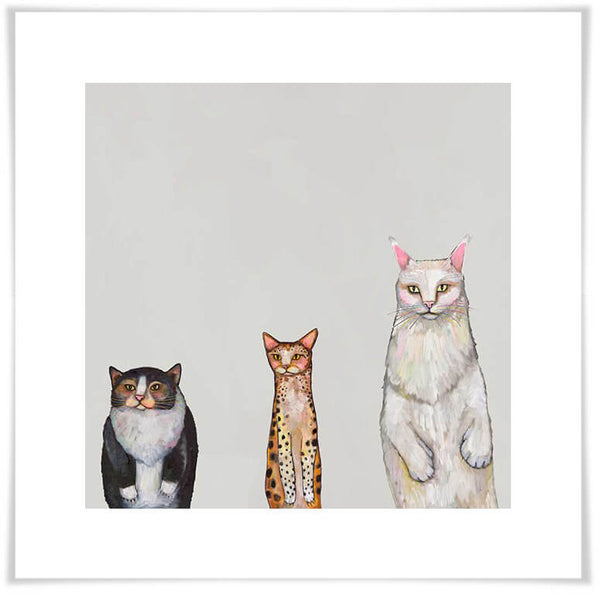 Cat Trio 1 Grey - Giclée Print