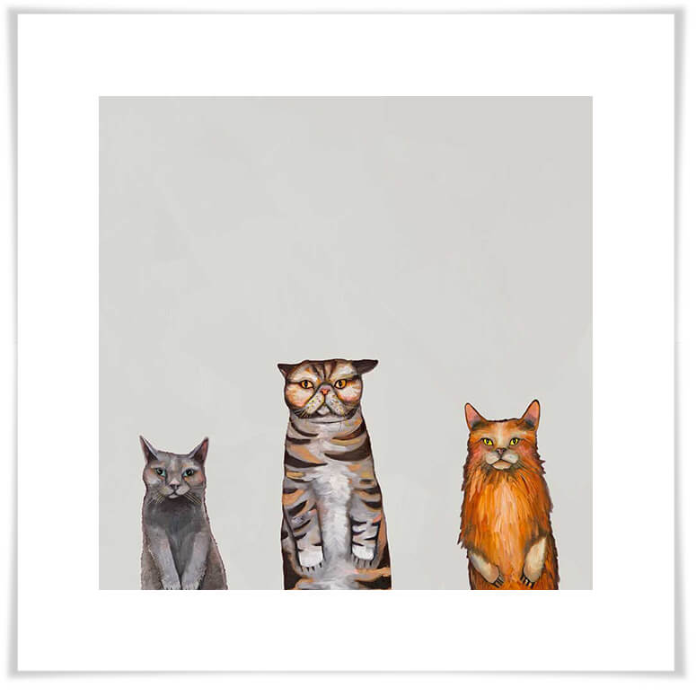 Cat Trio 2 Grey - Giclée Print