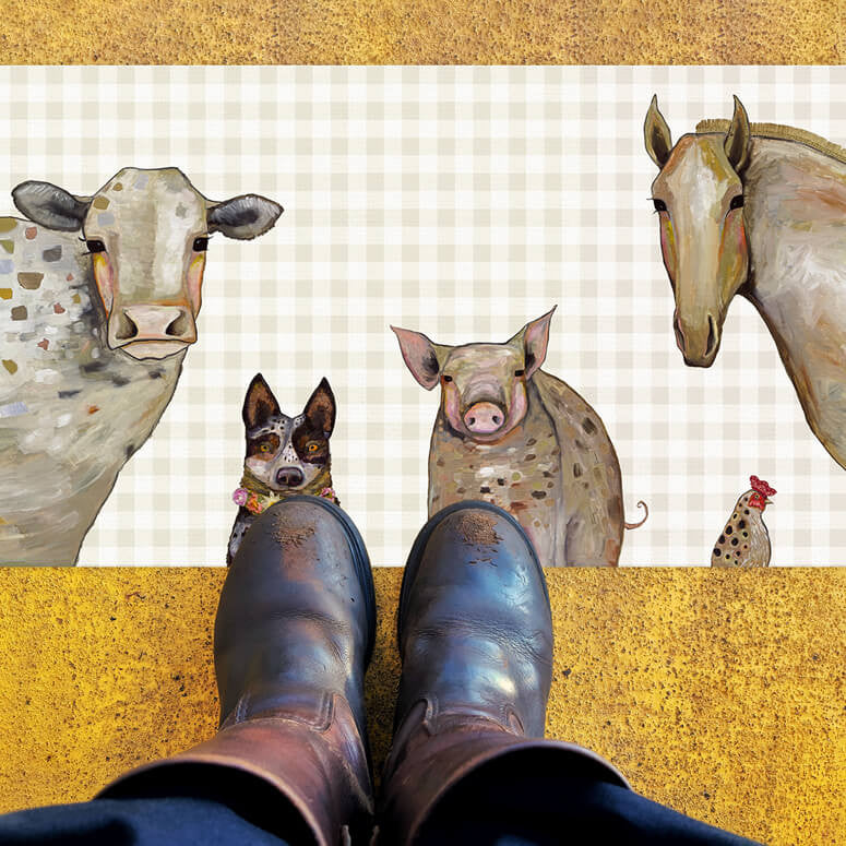 "Cattle Dog and Crew in Plaid Floorcloth 40"" x 20"""