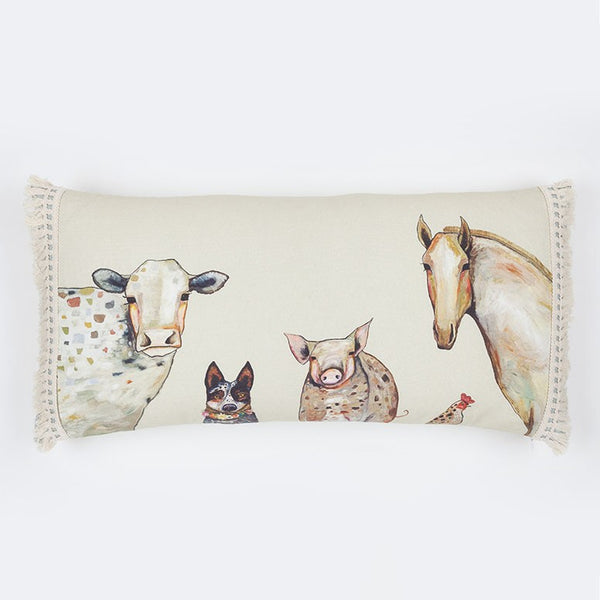 "Cattle Dog and Crew - Pillow 28"" x 14"""