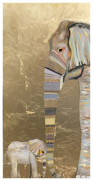 Elephant Baby and Mama Metallic Embellished - Giclée Print